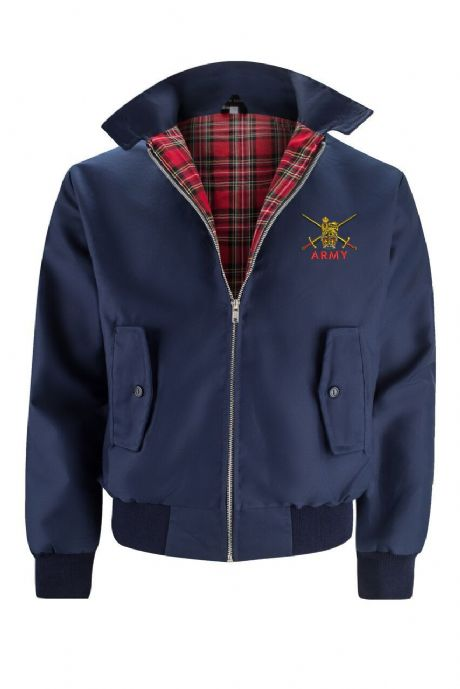 UK Military Classic UK Made harrington Jacket with British Army embroidered cap badges, Royal Navy and RAF.